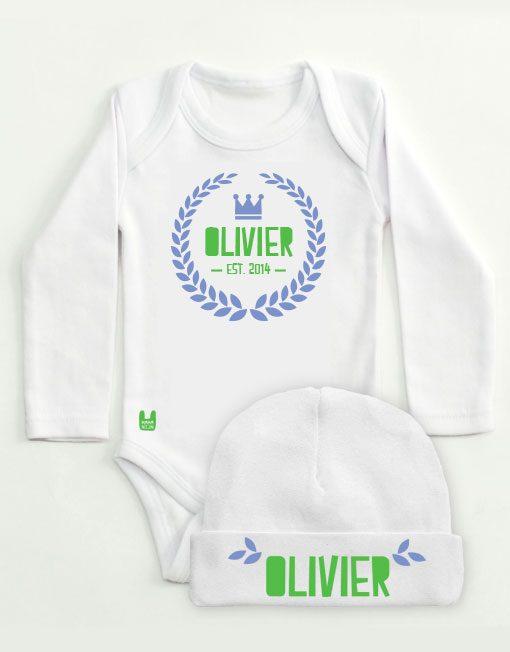 set-rompertje-babymutsje-lauwerkrans-blauw-groen