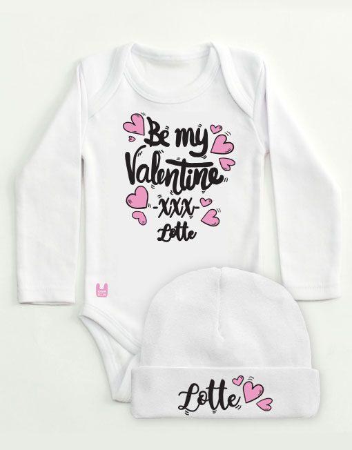 set-rompertje-babymutsje-valentijn-roze-zwart